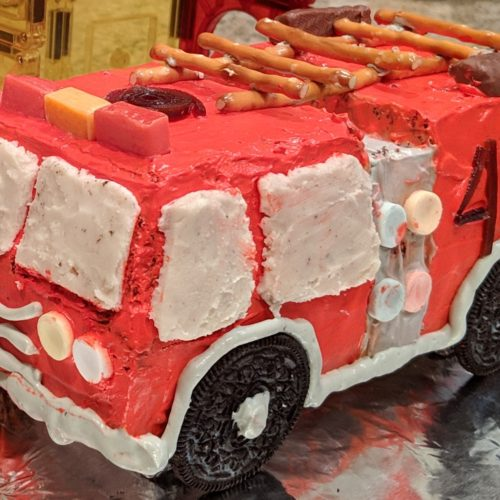 Brilliant Fire Truck Birthday Cake With Cool Whip Frosting Dummy In The Personalised Birthday Cards Beptaeletsinfo