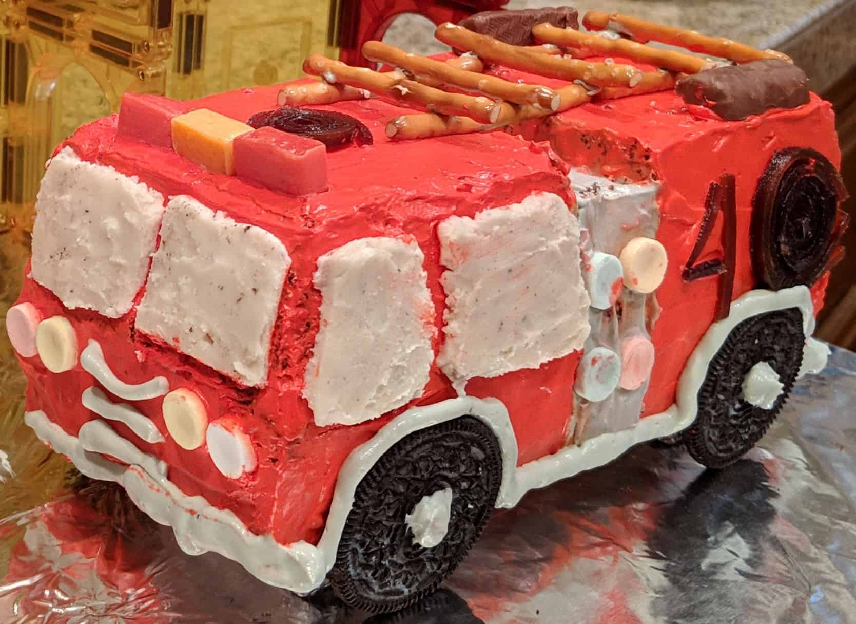 Enjoyable Fire Truck Birthday Cake With Cool Whip Frosting Dummy In The Birthday Cards Printable Nowaargucafe Filternl